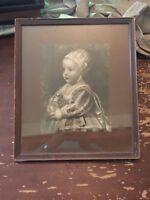 Antique 1893 Child Holding Fruit Framed Print