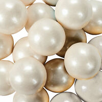 Large Shimmer White Gumballs - Candy -97 Pieces