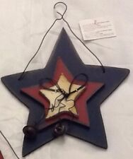 "Home Wall Decor Patriotic 7"" American BLUE, RED, AND WHITE STAR WALL HANGER"