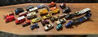 Hot Wheels Matchbox Vintage Lot 30 Pieces. 25 Cars, 3 Semis, 2 Trailers