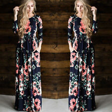 Women Floral Print Long Sleeve Boho Dress Ladies Evening Party Long Maxi Dress