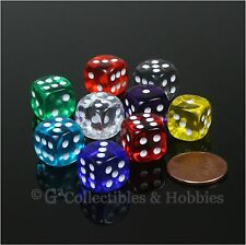 NEW 9 Transparent Multicolor 12mm ROUNDED EDGE RPG MTG Game D6 Dice - 9 Colors