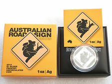 2014 Australia Koala Cartello Stradale $1 UN DOLLARO D'ARGENTO 1 OZ (ca. 28.35 g) MEDAGLIA BOX COA