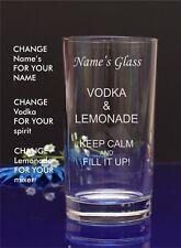 Personalised Engraved Hi ball mixer spirit VODKA AND LEMONADE glass 68