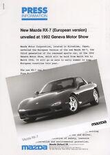 Mazda RX-7 European Launch Press Release/Photographs - Geneva 1992 - Mk3 (FD)