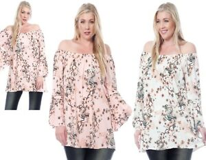 Womens Ladies Long Bell Sleeve Floral Off the Shoulder Bardot Plus Top 16-22