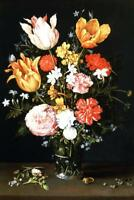 Vase of Flowers with Ring and Diamonds Art Print Poster 24x36 inch