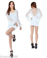 Womens Casual club Lace sheer back Mesh sleeves mini bodycon dress WHITE Small