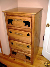 Rustic Log Black Bear 4 Drawer Chest