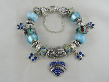 "PRETTY 925 STAMPED SILVER 20cm BLUE EUROPEAN STYLE CHARM BRACELET ""BLESSED ONE"""