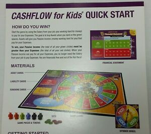 Cashflow For Kids Replacement Quick Start Rules Game Instructions Paper 2012