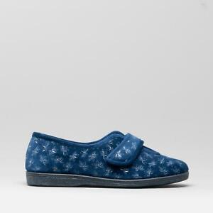 Sleepers IVY Ladies Extra Wide (EE) Fit V Throat Touch Fasten Full Slippers Navy