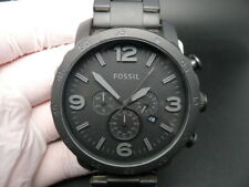 NEW OLD STOCK FOSSIL NATE JR1401 CHRONOGRAPH BLACK STAINLESS STEEL QUARTZ WATCH