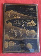 Antique Chinese Black Lacquer Blotter Panel Figures in Landscape 19th c. Desk