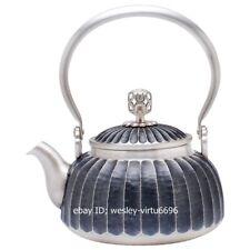 China Pure Silver Handwork Chisel Engraving tangerine petal stripe kettle Teapot