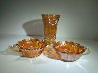 Vintage Carnival Glass Marigold Vase