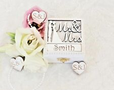 Luxury Mr & Mrs Personalised Wooden Double Wedding Ring Bearer Box / Ring Pillow