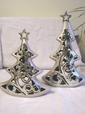 Set Of 2 Ceramic Christmas Trees Tea Light Candle Holders Fairie Lights