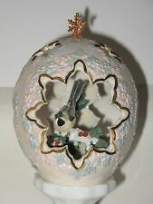 Franklin Mint Chickadee Bird in Iridescent Egg with Gold Trim and Snowflakes 6""