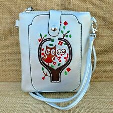 Silver Owl Small Cross body Bag with Smart Phone Spectacle Holder Long Strap