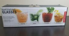 Kikkerland Recipe Bartending Glasses (Set of 4) Clear Thick Glass & Heavy! NEW!