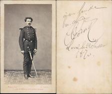 Homme en uniforme militaire nommé Godard, 1870 CDV vintage albumen carte de visi