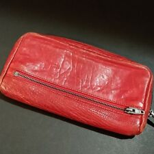 Alexander Wang Red Leather Large Fumo Zip Around Wallet