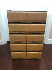 Lot x5 VHS VCR 18 CASSETTE TAPE DRAWER ORGANIZERS STORAGE BOX WOOD GRAIN LOOK