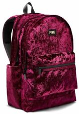 Victoria's Secret PINK Velvet Backpack Book Bag RUBY RED Velvet Tote Full SzNew