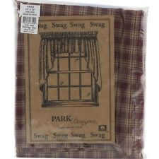 "Sturbridge Wine Swag Curtains 72"" x 36"" Red Tan Plaid Park Designs"