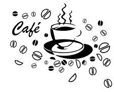 Sticker Décoration Cuisine Tasse Café Fumant et grains de Café, 20x24 à 60x72 cm