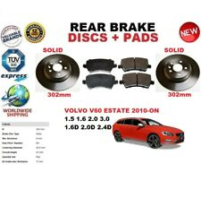 FOR VOLVO V60 D3 D4 D5 2006-ON 302mm SOLID REAR BRAKE DISCS SET + BRAKE PAD KIT