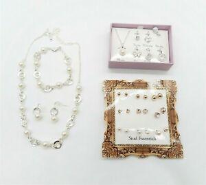 Avon Pearl Style Jewelry Bundle Earrings Necklace Pendants Brand New