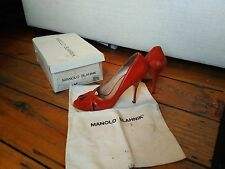 Coral red (puspa orange) high heel peep toe Manolo Blahnik EUR40 UK6.5
