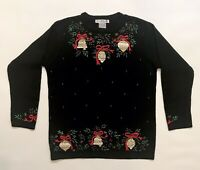 Victoria Jones Christmas Sweater Black Beaded Embroidered Bells Not Ugly Small