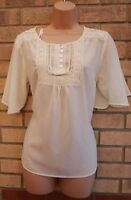 NEW LOOK CREAM LACE BUTTONED FLARE SLEEVE BLOUSE TUNIC T SHIRT TOP 10 12 S M