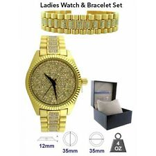 NEW ICE MASTER GOLD TONE 2 PC SET,PAVE CRYSTALS GLITZ DIAL WATCH+BRACELET-1276