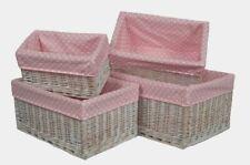 Pink Spotty Lined Storage Basket