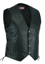 Mens Real Leather Motorcycle Waistcoat Biker Vest With Side Laces Real Choice