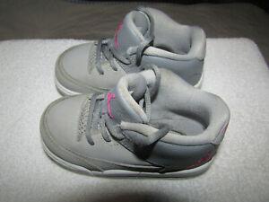 JORDAN FLIGHT SUEDE & LEATHER GRAY PINK  INFANT GIRLS  SZ. 6C / VERY CLEAN