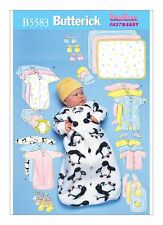 Butterick Sewing pattern B5583 SZ NB-M Babies Easy Sleeping Bag Top Booties Bib