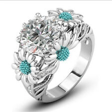 Sea Blue Color Round White Sapphire Daisy Charm Ring 925 Silver Lady Size 10