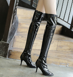 Women's Slim Patent Leather Over Knee Boot Pointed Toe Stiletto High Heels Shoes
