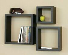 Handmade Square Classical Decorative Floating Wall Shelf Black ( 3 Shelves )