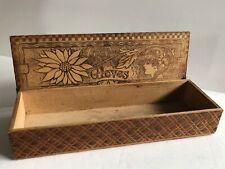 CARVED WOOD GLOVE STORAGE BOX DATE 1915 ANTIQUE VICTORIAN FLEMISH ART PYROGRAPHY