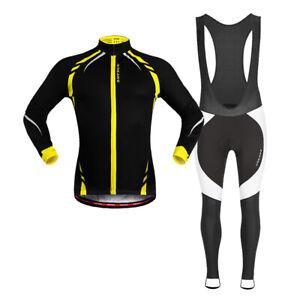 Winter Cycling Set Thermal Fleece Jerseys Bib Pants Padded Warm Jacket Tights