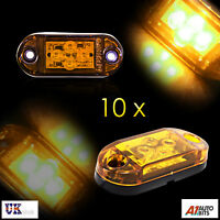 Ten 12-24v Led Amber Orange Side Marker Lights Indicator Trailer Truck Lorry Van