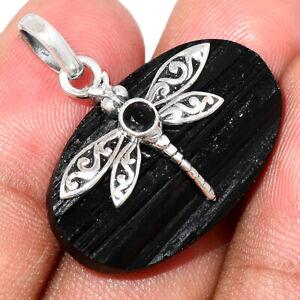 Dragonfly - Black Tourmaline Rough - Protection 925 Silver Pendant BP77253