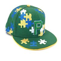 Pittsburgh Pirates New Era 59FIFTY Mens 7 3/4 Baseball Cap Puzzle Pieces Autism