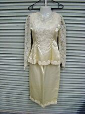 Vintage.  Homemade Cream Two piece wedding dress Lace Pearls